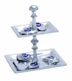 Artistic Designed Aluminum Candy Tray With Two Tier Pedestal - 26234 by Benzara