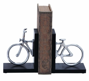 Stylish Aluminum Cycle Bookend With Attention Grabbing Design - 26923 by Benzara