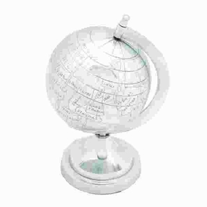 Aluminum Decor Globe in Silver Finish with Exquisite Details Brand Woodland