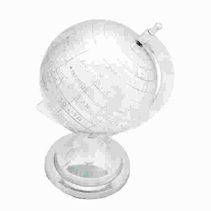 Aluminum Decor Globe in Silver Finish with Intricate Detail Work Brand Woodland
