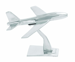 "Aluminum Plane Sculpture with Metallic Sheen 10"" Wide Brand Woodland"