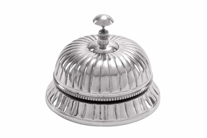 Aluminum Table Bell, Round, 6 Inch Width, 5 Inch Height Brand Woodland
