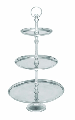 Aluminumin Round Base Three Tier Tray -Great Party Stand Brand Woodland