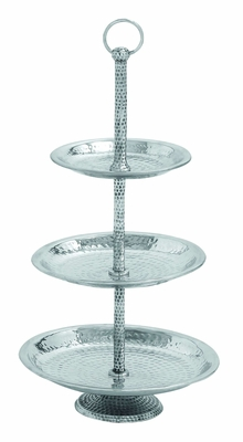 Aluminumin Three Tier Tray with Silver Finish Brand Woodland