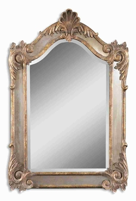 Alvita Small Mirror with Antique Side Mirrors and Gold and Gray Glaze Brand Uttermost