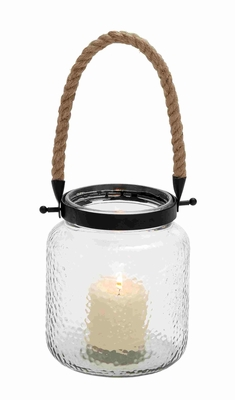Vintage Canning Jar Glass And Rope Candle Lantern - 23822 by Benzara