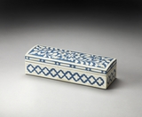 "Amanda Blue Bone Inlay Storage Box 12""W by Butler Specialty"