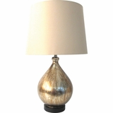Amazing 1 Light Portable Lamp Collections in Silver Glass Teardrop by Yosemite Home Decor
