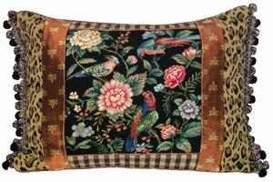 Amazing Canton Garden - Black Petit Point Pillow by 123 Creations