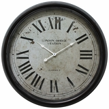 Amazing Circular Black Iron Wall Clock with glass by Yosemite Home Decor