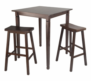 Winsome Wood Amazing Kinsgate 3pc Dining Table Set with Saddle Stool