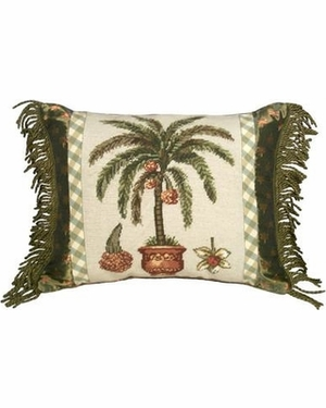 Amazing Palm Tree Needlepoint Pillow by 123 Creations