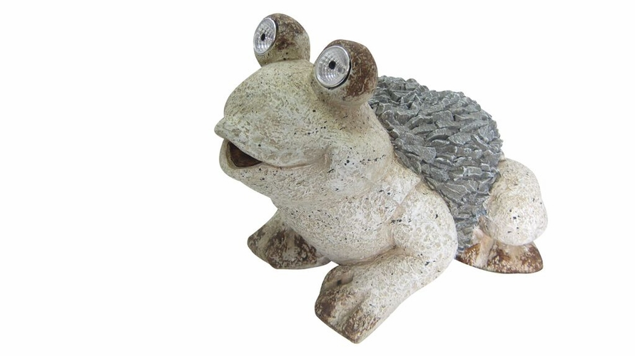 """Alpine Corp QWR474SLR 12"""" Solar Frog Statue At"""