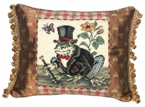 Amazing Styled Frog Gentleman Needlepoint Pillow by 123 Creations