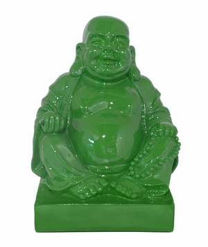 Amazing Green Color Resin Buddha Figurine by Three Hands Corp