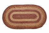 Amazingly Distinctive Burgundy Tan Jute Rug Oval by VHC Brands