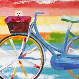 Amazingly Painted Summer Biking Painting by Yosemite Home Decor