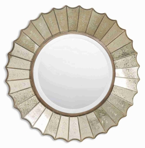 Amberly Sunburst Wall Mirror with Burnished Gold Leaf Mirror Edges Brand Uttermost