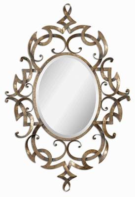 Ameno Antique Mirror with Hand Forged Frame and Champagne Leaf Brand Uttermost