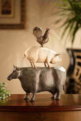 American Folk Art Trio (Chicken, Pig, Cow) Unique Table Decor Brand SPI-HOME