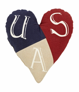 "American Parade Pillow Heart 10x10"" Brand VHC"