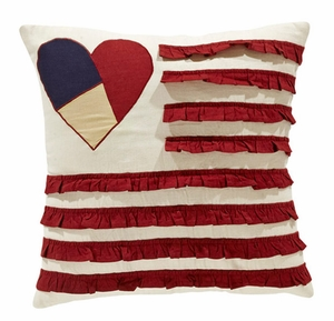 "American Parade Pillow Heart Flag 16x16"" Brand VHC"
