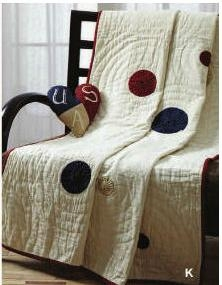 American Parade Quilted Throw with Maroon Border and Yo-Yo Design Brand VHC