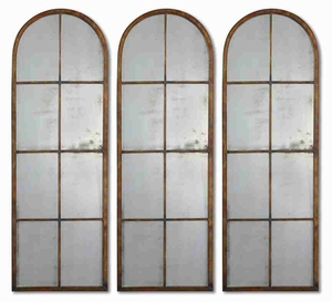 Amiel Arched Panel Wall Mirror with Maple Brown Forged Metal Frame Brand Uttermost