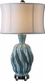 Amoroso Blue Ceramic Lamp with Ivory Undertones Brand Uttermost