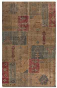 "Anadolu 16"" Hand Knotted Wool Rug with Deep Red and Aged Blue Brand Uttermost"