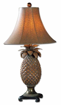 Anana Resin Metal Table Lamp with Brown Glaze Brand Uttermost
