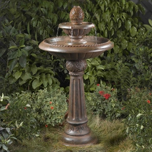 Ananas Pineapple Tier Outdoor Fountain with Carvings and Grooves Brand Zest