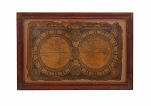 Ancient 17Th Century World Map Wall Art Framed In Solid Wood - 56072 by Benzara