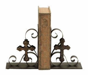 Ancient Cross Themed Book End Set In Aged Bronze Alloy Brand Woodland