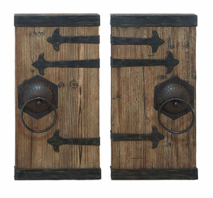 Ancient Door Decor With Aged Wood And Wrought Iron Brand Woodland