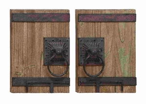 Ancient Door Decor With Aged Wood And Wrought Iron Handles Brand Woodland