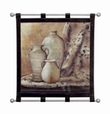 Ancient Pots Leather Wall Hanging W Metal Scroll 32x34 Brand Woodland