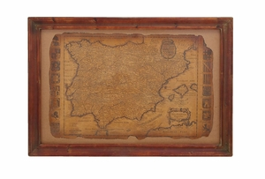 Ancient Spanish Map Spain Wall Art Framed In Solid Wood Brand Woodland