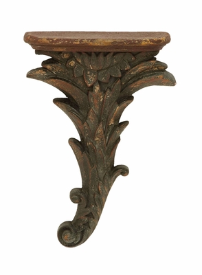 Ancient Style Floral Corbel Shelf in Polystone Brand Woodland