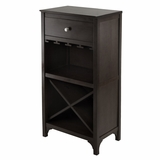 Ancona Modular Wine Cabinet with One Drawer, Glass Rack, X Shelf by Winsome Woods