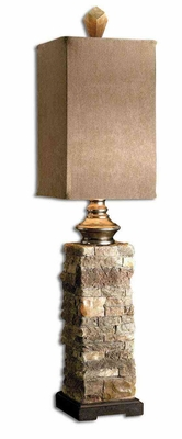 Andean Layered Stone Buffet Lamp with Aluminum Accents Brand Uttermost