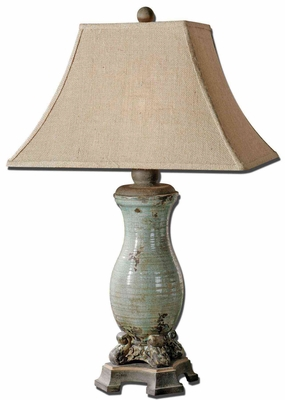 Andelle Light Blue Table Lamp with Bronze Detailing Brand Uttermost