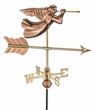 Angel Garden Weathervane - Polished Copper w/Roof Mount by Good Directions