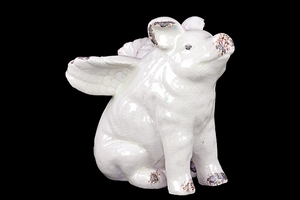 Angelic White Ceramic Cute Flying Pig by Urban Trends Collection