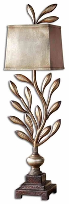 Angelita Metal Leaf Buffet Lamp with Brown Details Brand Uttermost