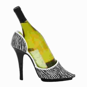 Animal Print Shoe Wine Holder with Stiletto Design Brand Woodland