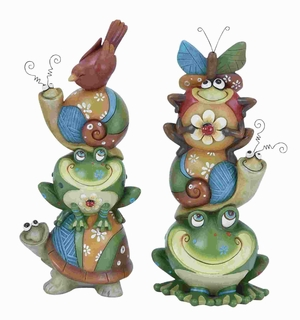 """Animal Stack 2 Assorted 11""""H,Vibrant ,Quirky and Decorative Brand Woodland"""