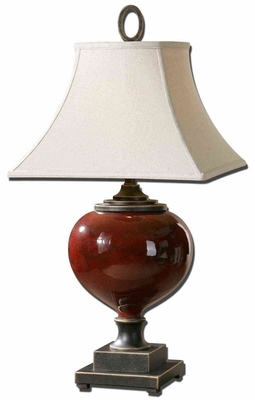 Anka Red Table Lamp with Antiqued Dark Bronze Accents Brand Uttermost
