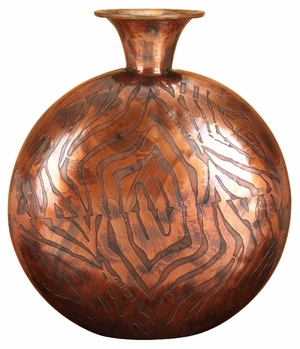 Ankora Classic Copper Metal Flower Vase with Spiral Design Brand Woodland