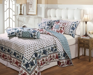 Anna Marie Cotton Quilt Queen Set With 2 Pillows, 90 X 90 Inch Brand Greenland Home fashions